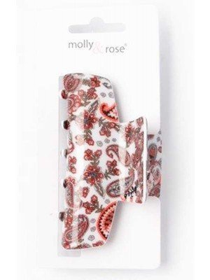 Wholesale Paisley Print Acrylic Clamp - 8.5cm