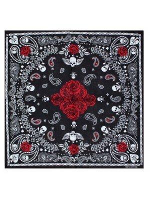 Paisley Print Bandana - Skull & Roses