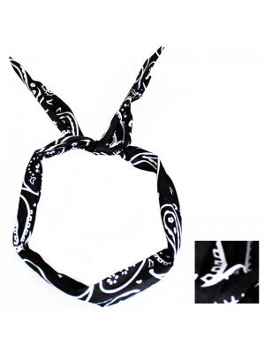 Paisley Print Bendy Headwrap (Black)