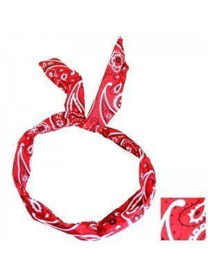Paisley Print Bendy Headwrap (Red)