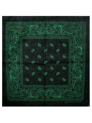 Paisley Bandana- Black/Green