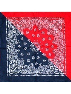 Paisley Bandana - Two-Tone (Red & Navy)