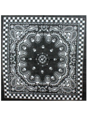 Paisley Skull Bandanas with Checkered Border - Black