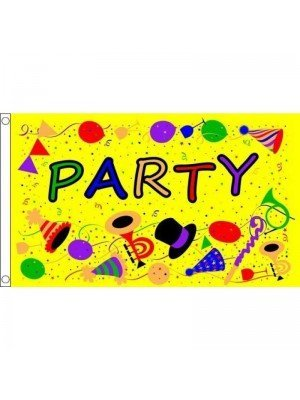 Party Time Yellow Flag 5ft x 3ft