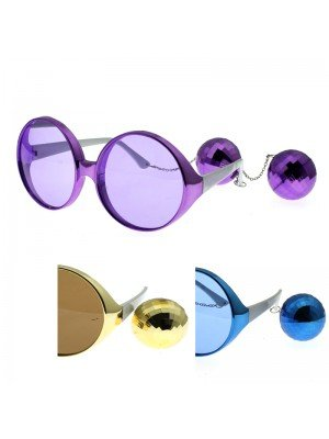 Party Glasses With Disco Balls - Assorted Colours