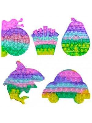 Wholesale Push & Pop Pastel Rainbow Bubble Fidget Toys - Assorted Colours
