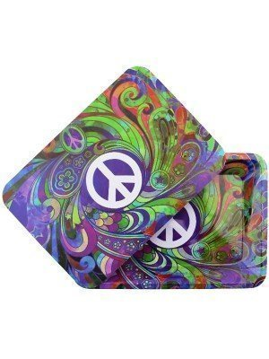 Wholesale Peace Metal Rolling Tray With Magnetic Lid - Mini (18 x 12.5 cm)