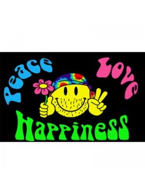 Peace, Love, Happiness Flag - 5ft x 3ft
