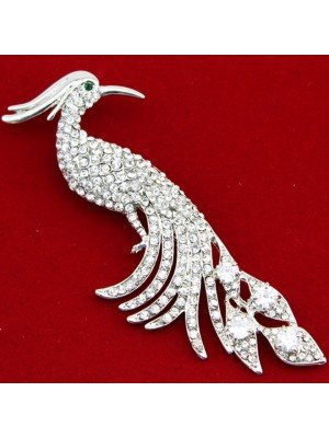 Wholesale Silver Crystal Diamante Peacock Bird Design Brooch