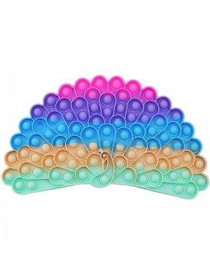Wholesale Push & Pop Bubble Rainbow Fidget Toy - Peacock