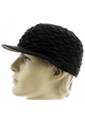 Unisex Plain Knitted Peak Hats - Brown