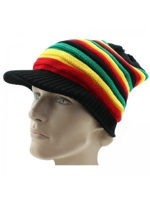 Peak Hat With Rasta Design