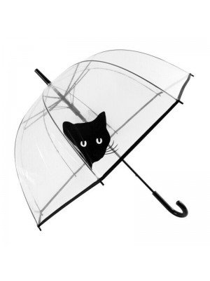Peeking Cat Clear see Through Dome Umbrella