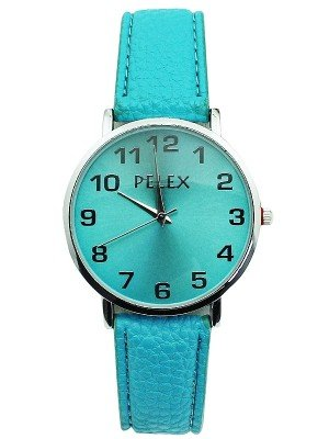 Wholesale Pelex Unisex Classic Round Dial Leather Strap Watch - Turquoise & Silver