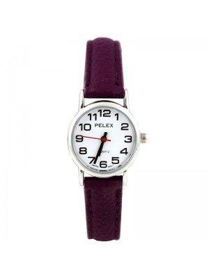 Wholesale Pelex Ladies Classic Round Dial Leather Strap Watch - D-Purple/Silver