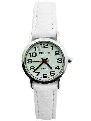 Wholesale Pelex Ladies Classic Round Dial Leather Strap Watch - White & Silver
