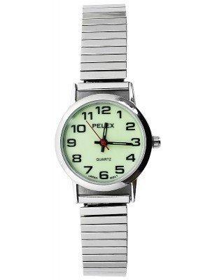 Wholesale Pelex Ladies Glow in The Dark Metal Expander Strap Watch - Silver & Silver