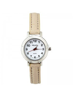 Wholesale Pelex Ladies Round Dial Faux Leather Strap Watch - Beige/Silver