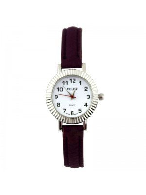 Wholesale Pelex Ladies Round Dial Faux Leather Strap Watch - D-Purple/Silver
