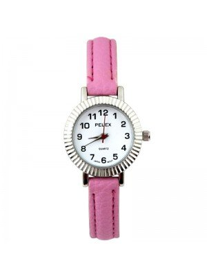 Wholesale Pelex Ladies Round Dial Faux Leather Strap Watch - L-Pink/Silver