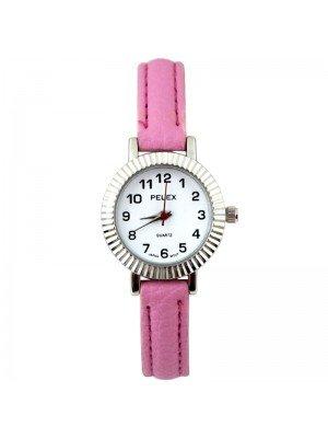 Wholesale Pelex Ladies Round Dial Faux Leather Strap Watch - L-Pink/Silver