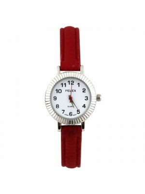 Wholesale Pelex Ladies Round Dial Faux Leather Strap Watch - Red/Silver