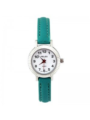 Wholesale Pelex Ladies Round Dial Faux Leather Strap Watch - Turquoise/Silver