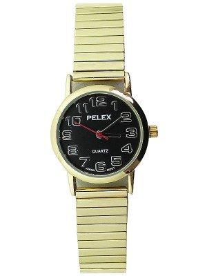 Wholesale Pelex Ladies Round Dial Metal Expander Strap Watch - Gold/Black
