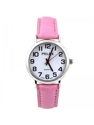 Wholesale Pelex Unisex Classic Round Dial Leather Strap Watch - L-Pink/Silver