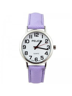 Wholesale Pelex Unisex Classic Round Dial Leather Strap Watch - L-Purple/Silver