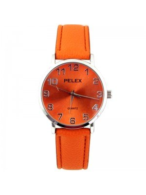 Wholesale Pelex Unisex Classic Round Dial Leather Strap Watch - Orange/Sliver