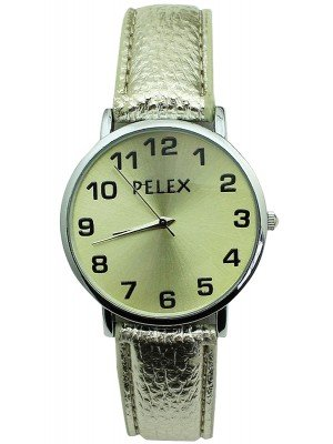 Wholesale Pelex Unisex Classic Round Dial Leather Strap Watch - Silver & Gold