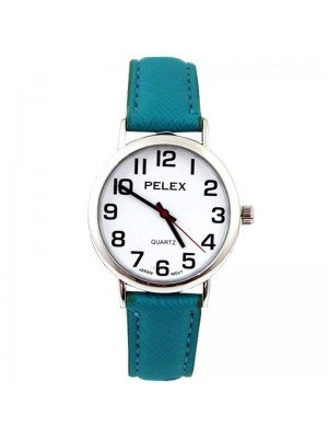 Wholesale Pelex Unisex Classic Round Dial Leather Strap Watch - Turquoise/Sliver
