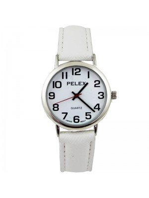 Wholesale Pelex Unisex Classic Round Dial Leather Strap Watch - White/Sliver