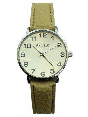 Wholesale Pelex Unisex Classic Round Dial Leather Strap Watch - Cream & Silver