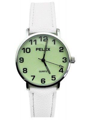 Wholesale Pelex Unisex Glow in The Dark Leather Strap Watch - White & Silver