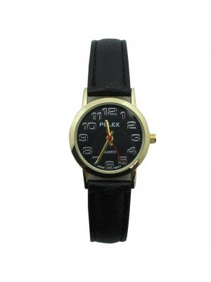 Pelex Ladies Classic Round Dial Leather Strap Watch - Black & Gold