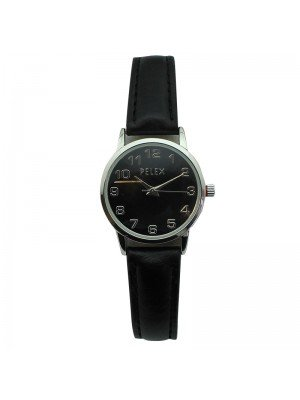 Pelex Ladies Classic Round Dial Leather Strap Watch - Black & Silver