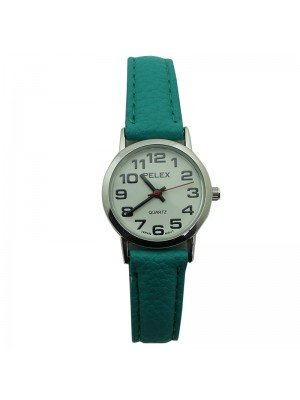 Pelex Ladies Classic Round Dial Leather Strap Watch - Coral & Silver