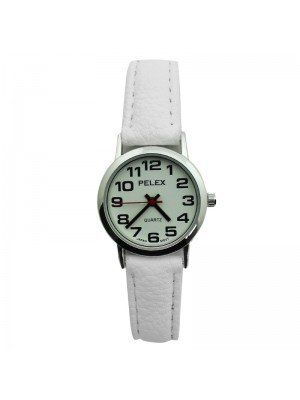 Pelex Ladies Classic Round Dial Leather Strap Watch - White & Silver