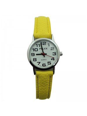 Pelex Ladies Classic Round Dial Leather Strap Watch - Yellow & Silver