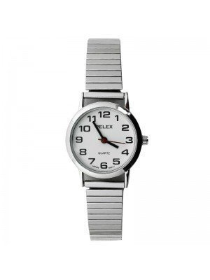 Pelex Ladies Classic Round Dial Metal Expander Strap Watch - Silver & Silver