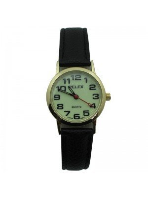 Pelex Ladies Glow in The Dark Leather Strap Watch - Black & Gold