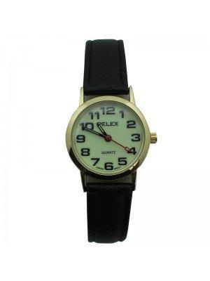 Pelex Ladies Glow in The Dark Leather Strap Watch - Black & Gold