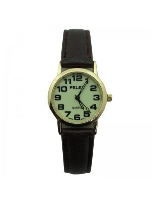 Pelex Ladies Glow in The Dark Leather Strap Watch - Brown & Gold
