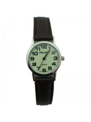 Pelex Ladies Glow in The Dark Leather Strap Watch - Brown & Silver