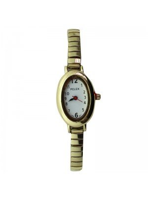 Pelex Ladies Oval Dial Metal Expander Strap Watch - Gold