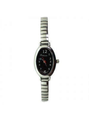 Pelex Ladies Oval Dial Metal Expander Strap Watch - Silver
