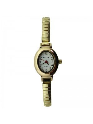 Pelex Ladies Oval Metal Expander Strap Watch - Gold