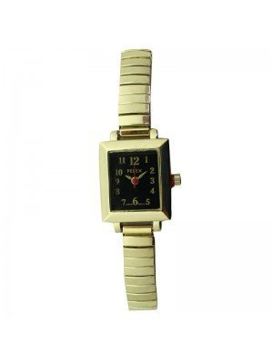 Pelex Ladies Square Dial Metal Expander Strap Watch - Gold